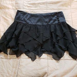 Arden B Black Silk Mini Skirt w/ Tiered Hem